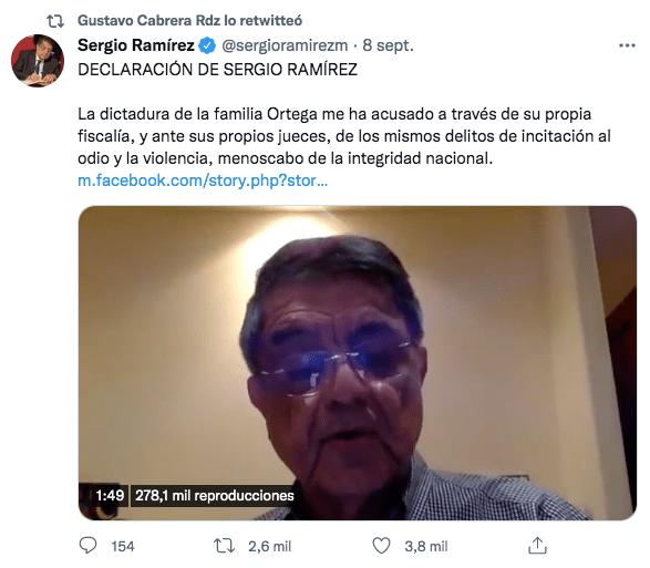 Mensaje retuiteado por el embajador Gustavo Cabrera. Captura de pantalla