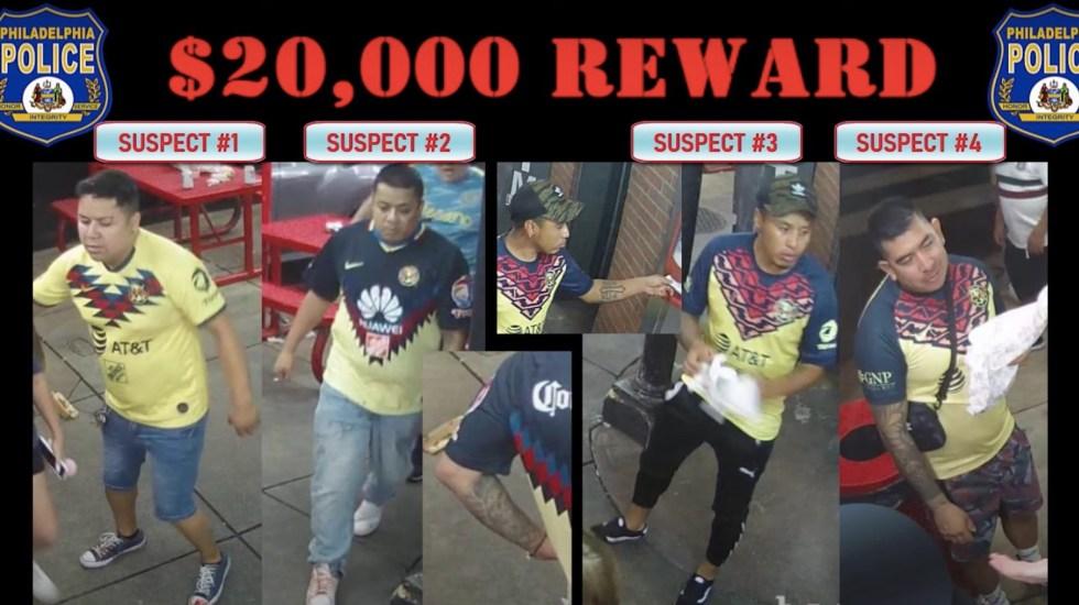 #Video Buscan en Filadelfia a aficionados del América por riña en la que murió una persona - #Video Ofrecen recompensa de 20 mil dólares tras riña en la que murió fanático del América. Foto tomada de video