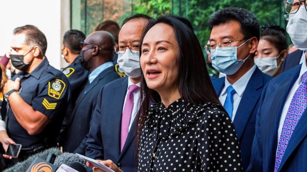 Directora de Huawei llega a China tras ser liberada en Canadá - Directora de Huawei llega a China tras ser liberada en Canadá. Foto de EFE