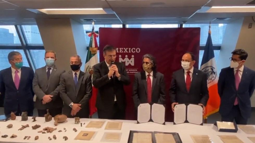 México recupera en NY patrimonio nacional sustraído ilegalmente - ONU documentos Ebrard NY