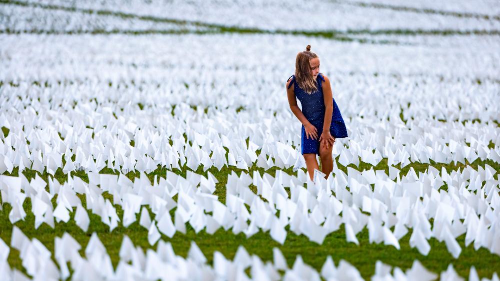 Washington EEUU muertos COVID banderas blancas