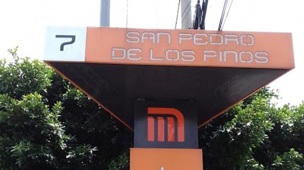 Se suicida adulto mayor en estación San Pedro de los Pinos del Metro - Anuncio de la estación San Pedro de los Pinos del Metro