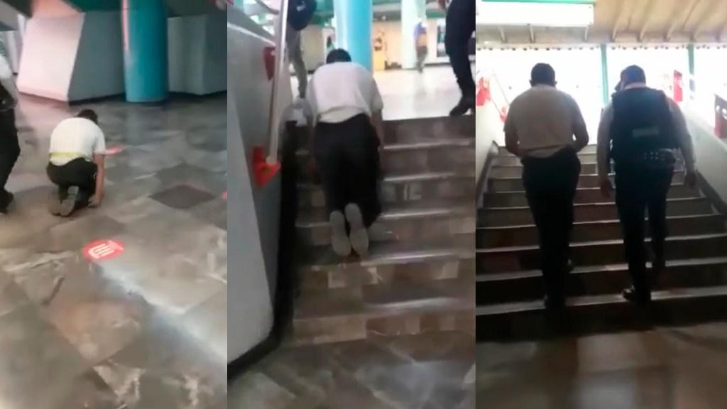 #Video Evidencian a falso discapacitado que pedía dinero en Metro - Falso discapacitado que pedía dinero en el Metro
