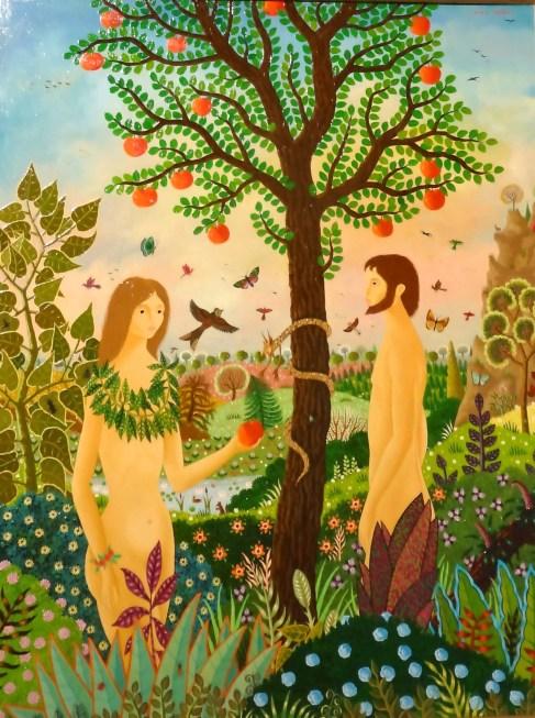 Expo. A.Thomas-Passage Ste Croix-Nantes-Adam et Eve , Huile sur bois, 73 X 92 cm, 1977-©CuriousCat