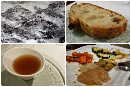 Mural, pan, caldo y verduras, en Mugarra (fotos: Cuchillo)