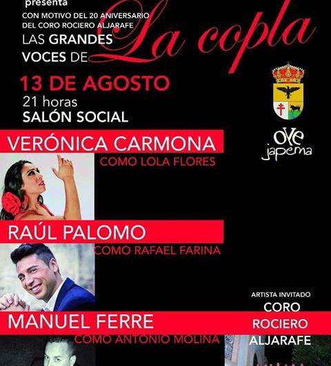 Este domingo, Espectáculo de «La Copla» y Coro Rociero Aljarafe