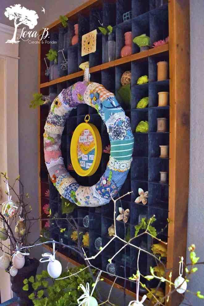 vintage fabric wreath on industrial sorter