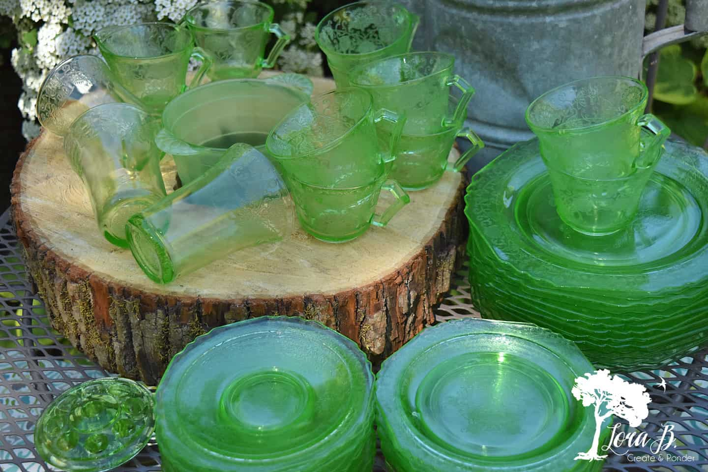 Green depression glass collection.
