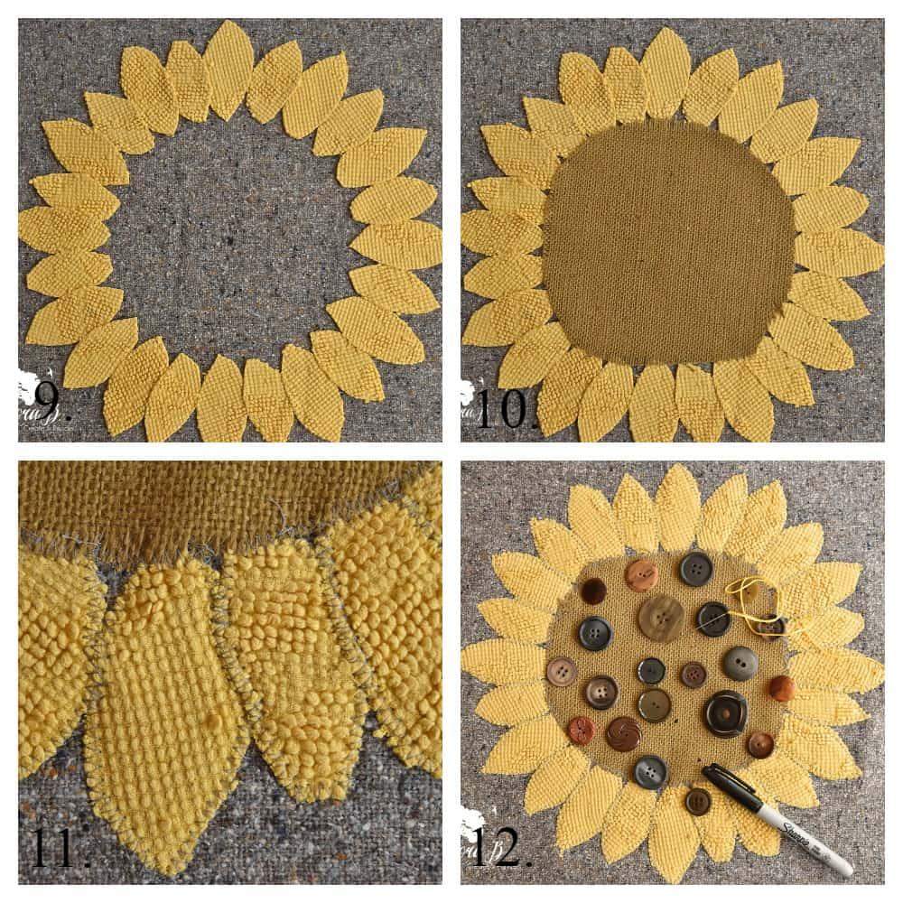 Sunflower Button Pillow