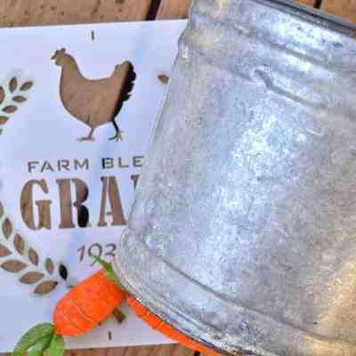 DIY Stenciled Galvanized Bucket Gift Idea