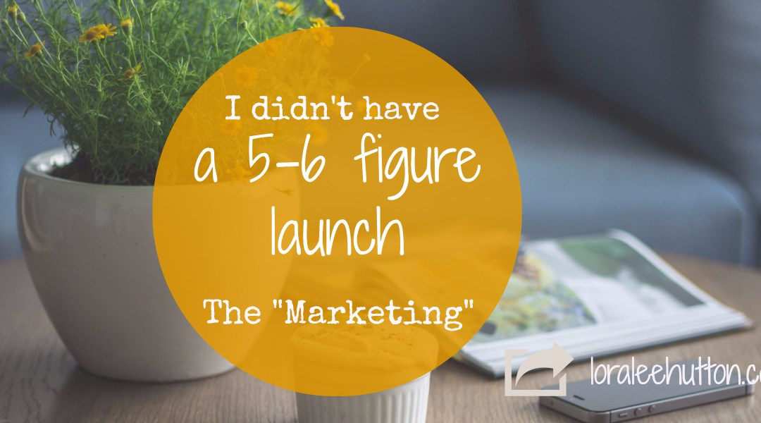 "I didn't have a 5 or 6 figure launch – ""The Marketing"""