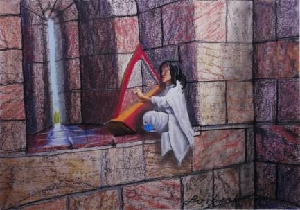 Harper Praises Jerusalem. Lorberboim Soft Pastel Painting.