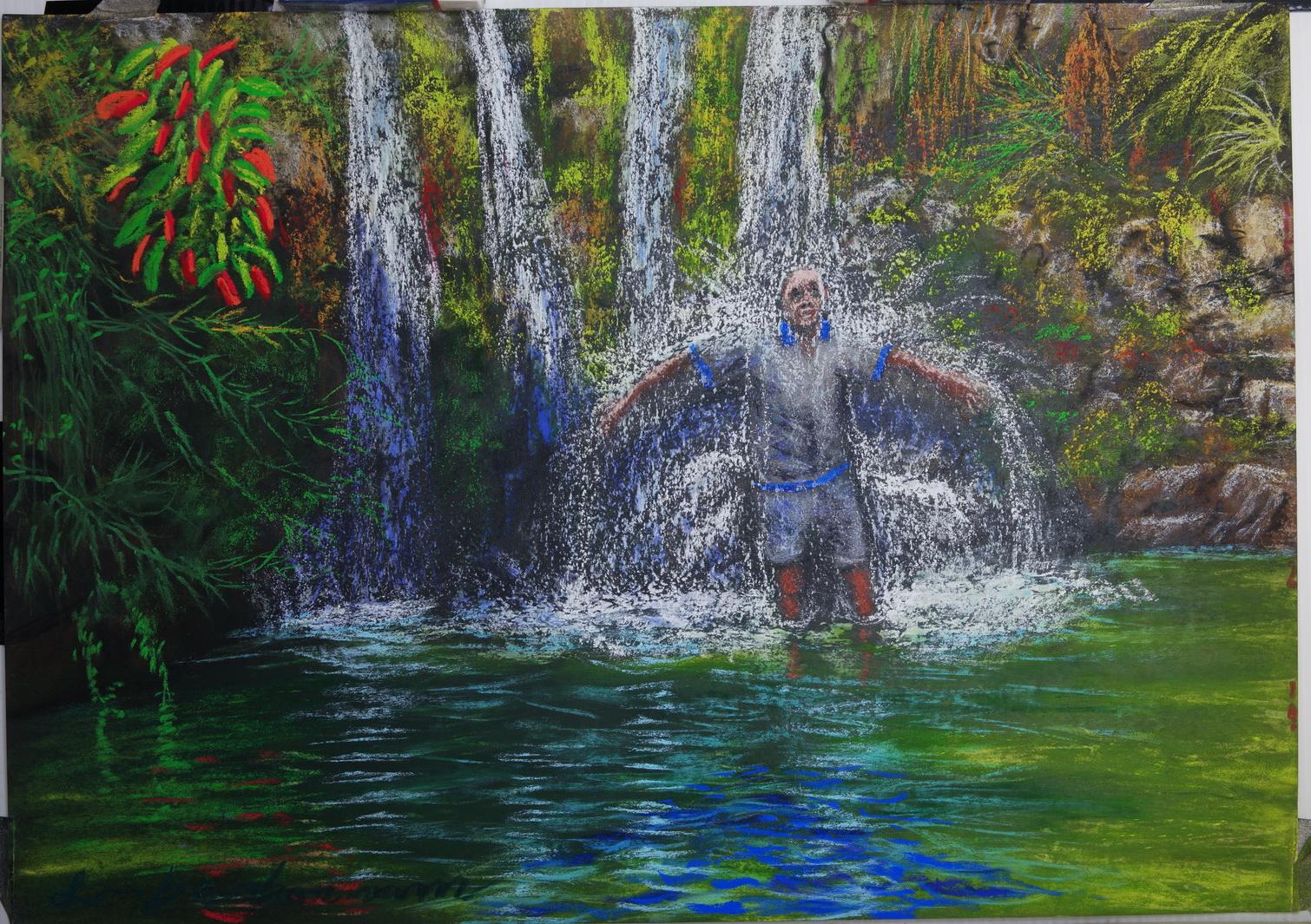 Figure showers under water fall at Nahal David Lorberboim Soft Pastel Painting. דמות אפופה במפל בנחל דוד