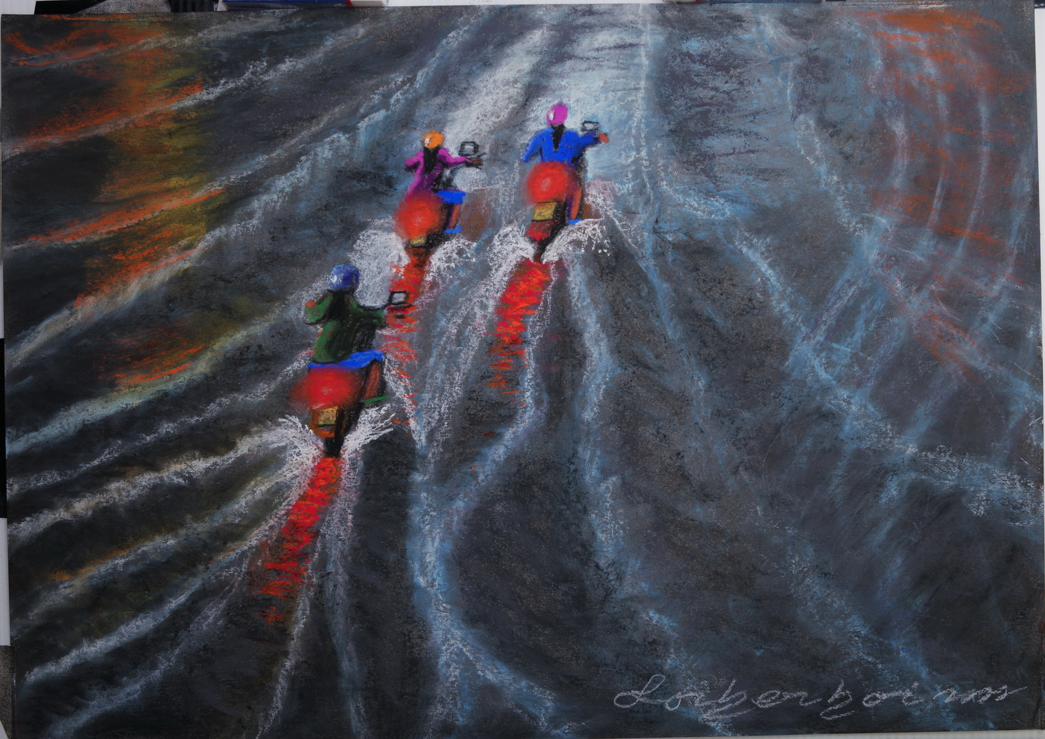Three Motorbikes on flooded road at Loi Krathong and Yi Peng, Chiang Mai.Lorberboim Soft Pastel Painting.