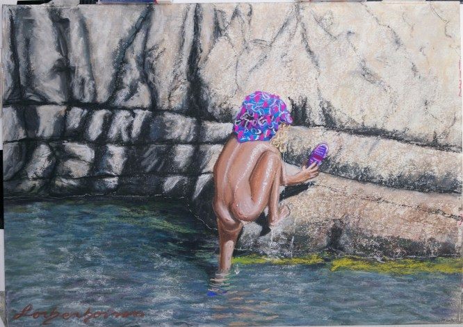 Lorberboim Soft Pastel Painting. Lilya at water fall at Nahal David.