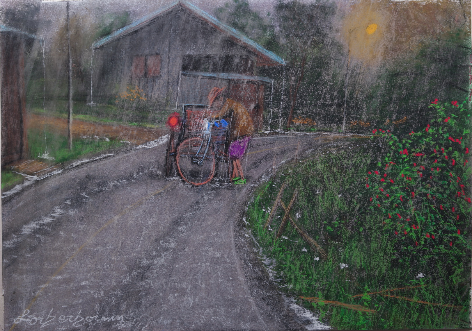 Tricyclo driver stuck in rain, Chiang Mai, Thailand. Lorberboim Soft Pastels Painting.
