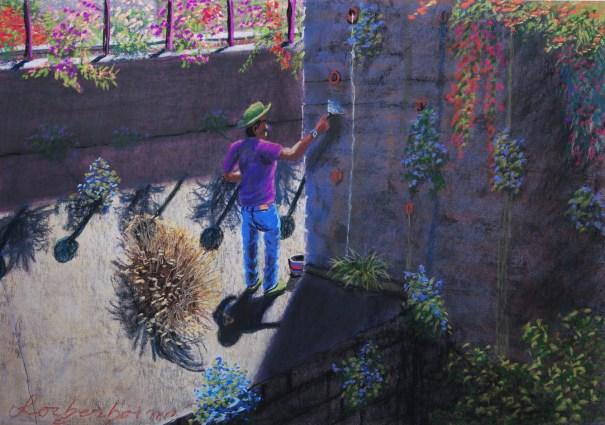 Plasterer in Jerusalem Lorberboim Soft Pastel Painting.