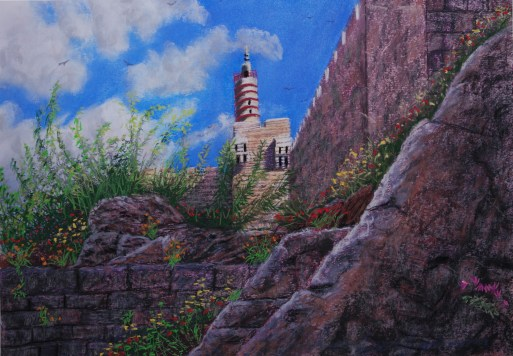 Tower of David, Jerusalem. Lorberboim Soft Pastel Painting. New View Exhibitiom. Tlmuseum.com.