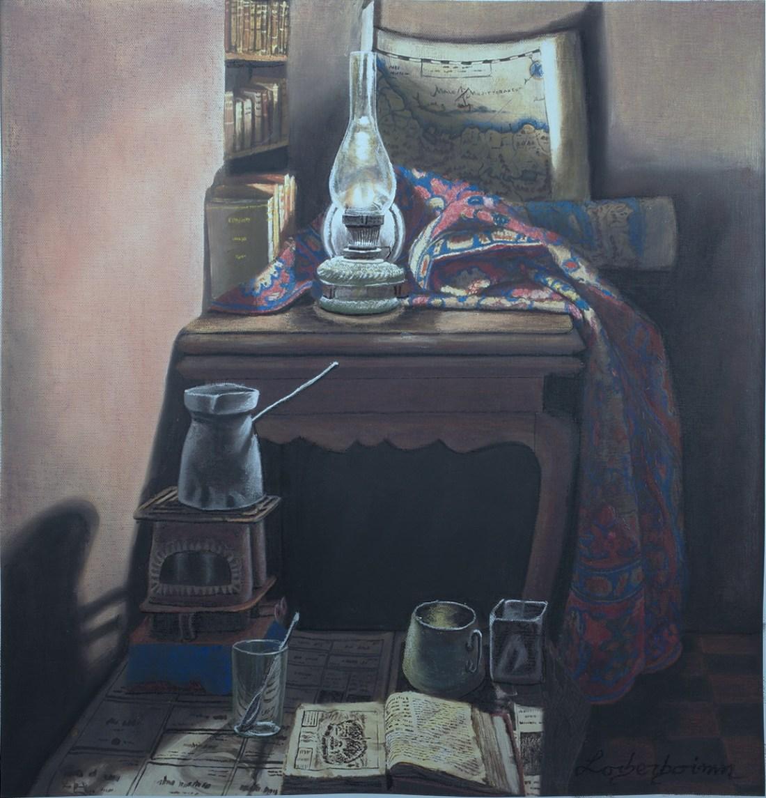 Interior. Lorberboim oil Painting on canvas. New View Exhibitiom. Tlmuseum.com.