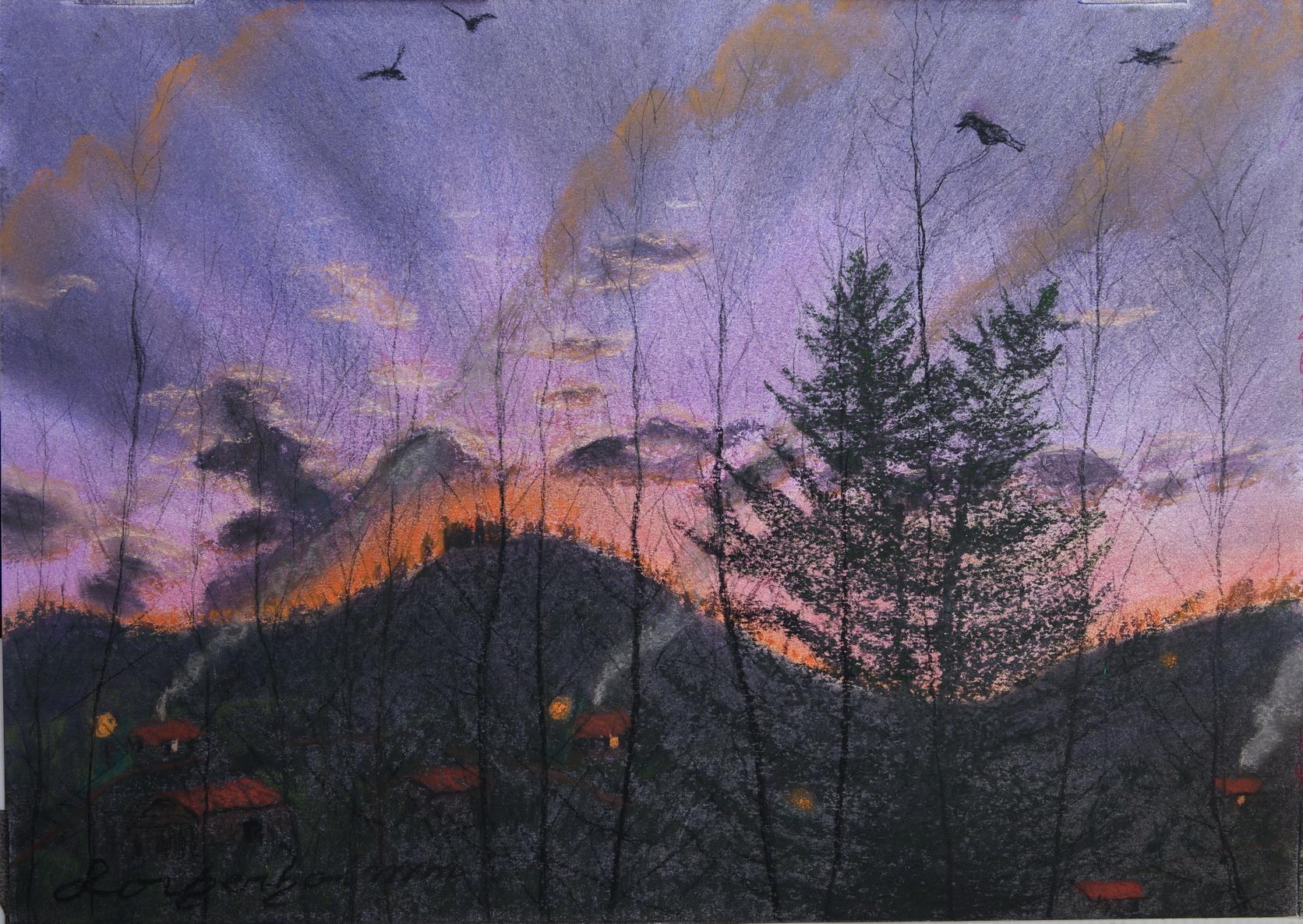Metula sun rise. Lorberboim Soft Pastels Painting.