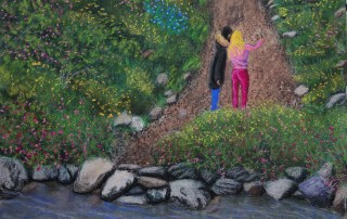 Tlmuseum.com,Couple selfie avoiding touch, Lorberboim Soft Pastel Painting. Nahal Sששר