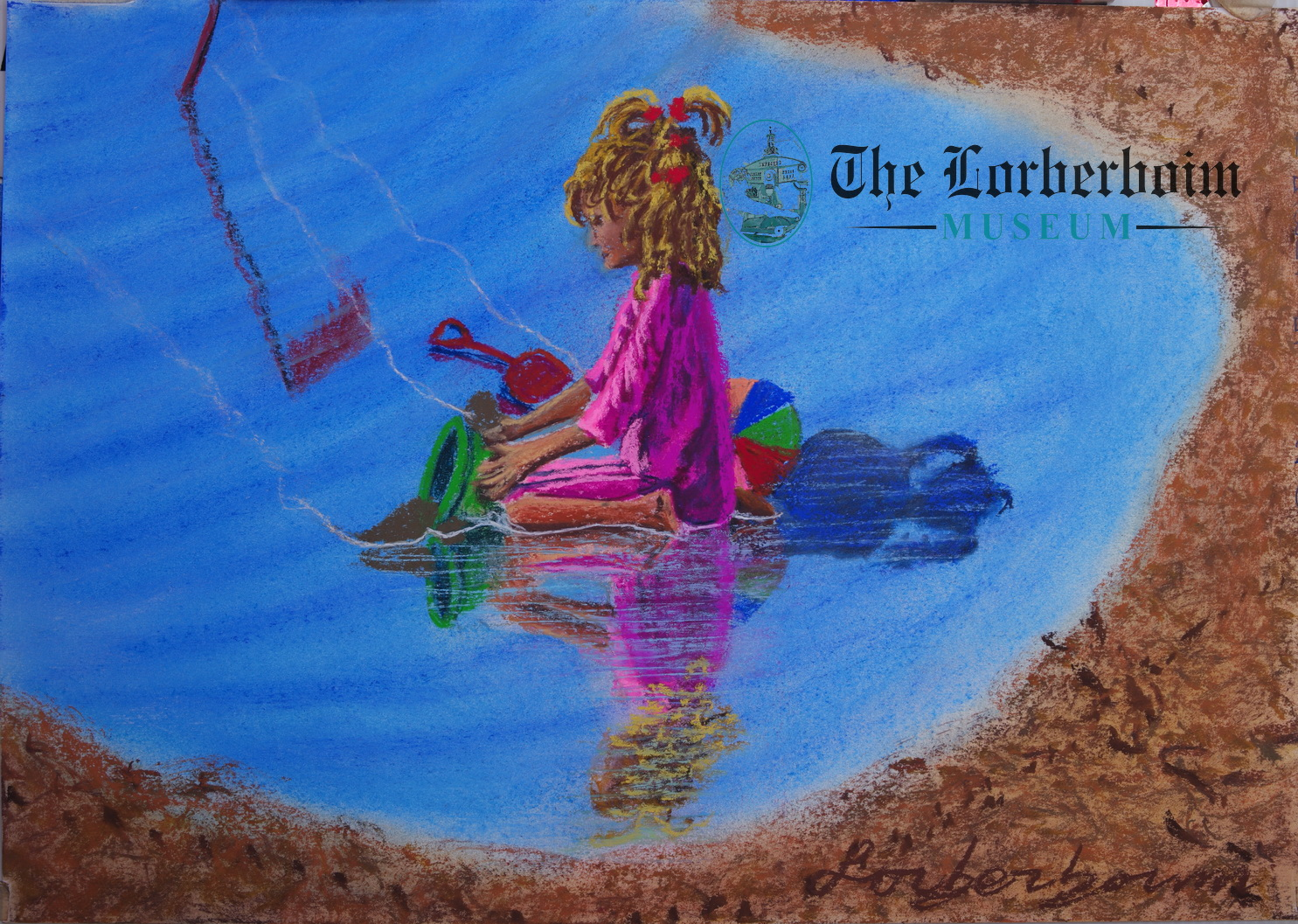 Girls playing at sea, Museum, Lorberboim, Tlmuseum.com, artnot4sale, Lorberboim.com, Lorberboim Soft Pastel Painting,