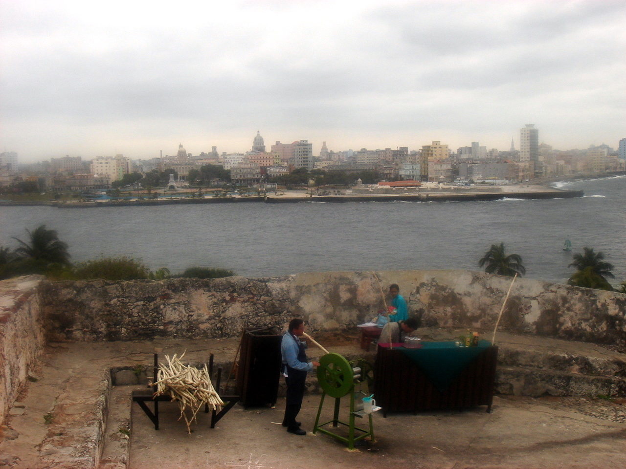 sugar cane juice-making at the old Fort, with Habana in the distance