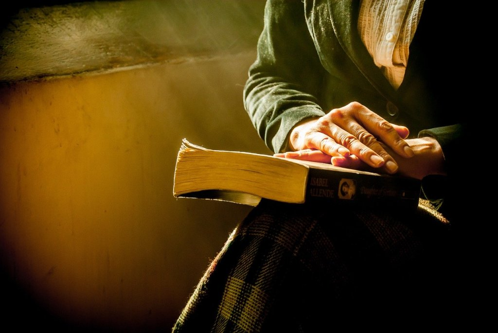 book, hands, reflecting, peace