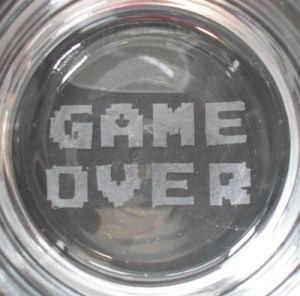 Game Over Etched Glass