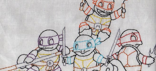 Teenage Mutant Ninja Squirtles Embroidery by Lord Libidan