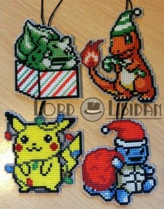 Christmas Pokemon Bauble Cross Stitches