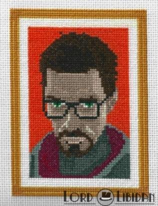 Gordon Freeman Portrait Cross Stitch
