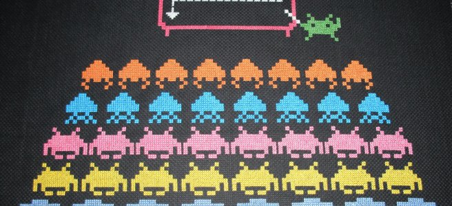 Space Invader School Cross Stitch
