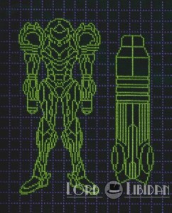 Metroid Power Suit & Cannon Blueprints Cross Stitch by Lord Libidan