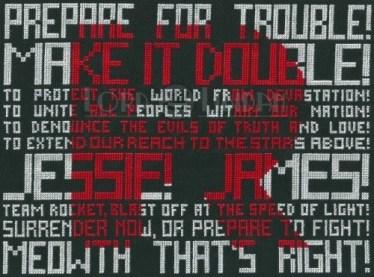 Team Rocket Typography Cross Stitch