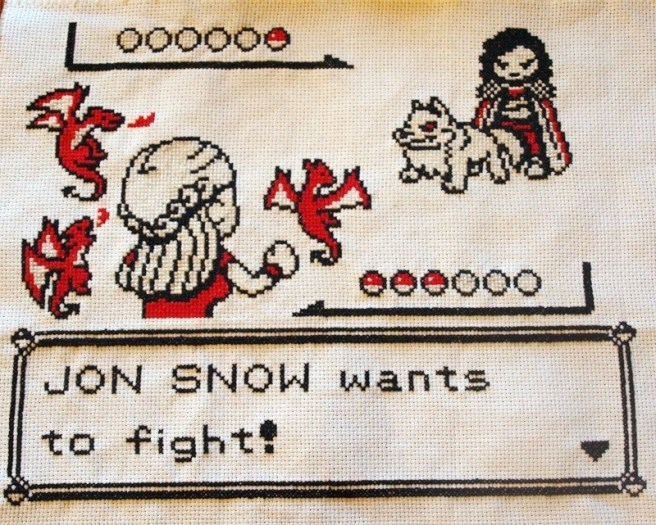 game of thrones pokemon cross stitch mashup