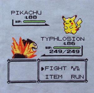 Pokemon Fight Cross Stitch