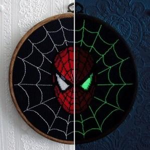 spiderman glow in the dark cross stitch