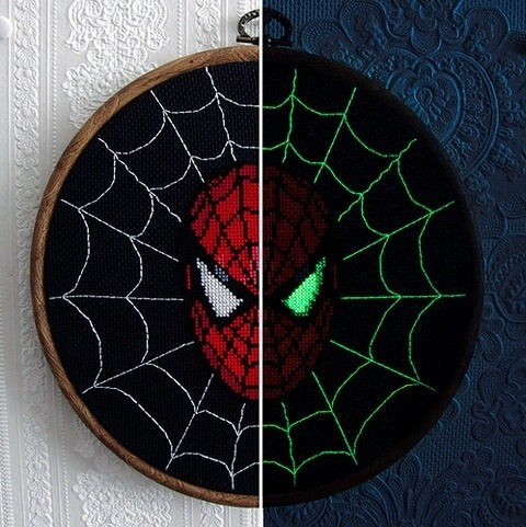 spiderman glow in the dark cross stitch