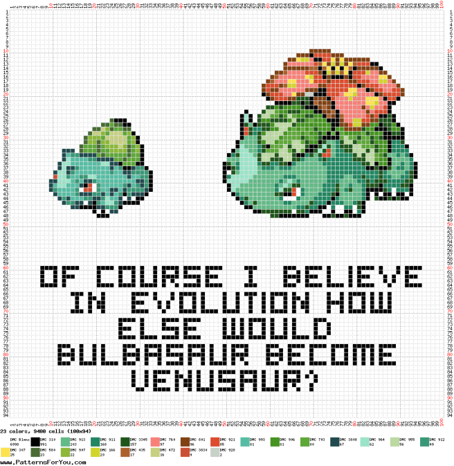 Pokemon bulbasaur Evolution free Cross Stitch Pattern