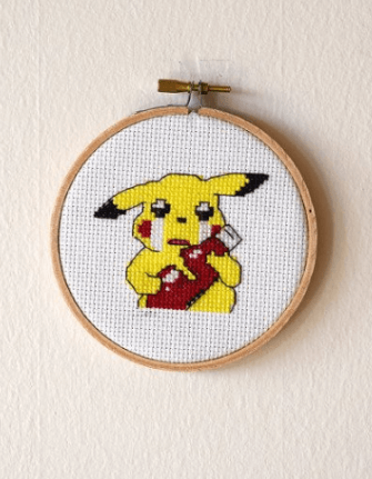 Pikachu Ketchup Cross Stitch by PiDesign (source: Etsy.com)