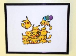 pikachu pile cross stitch