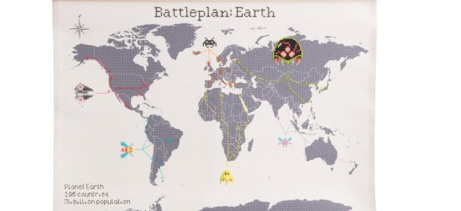 battleplan earth 8 bit video game cross stitch world map by lord libidan