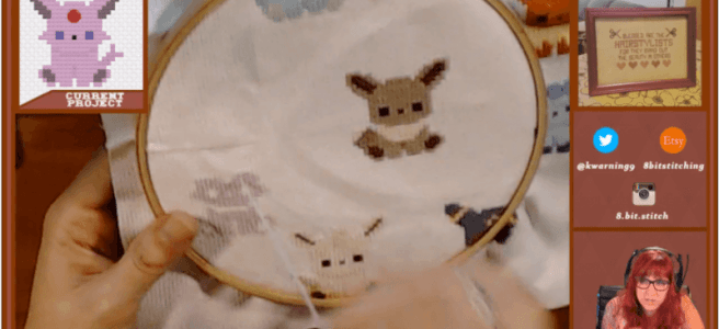 KWarning on Twitch cross stitching Eevees (source: twitch)