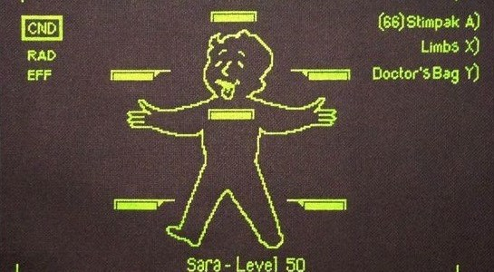 Glow in the dark Fallout 3 Pipboy Cross Stitch by Crafter Dark (source: crafterdark.com.au)
