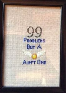 99 problems but a snitch aint one harry potter cross stitch