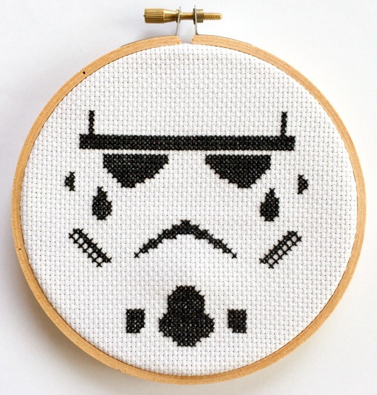Star Wars Stormtrooper Helmet Negative Space Cross Stitch (source: Etsy)