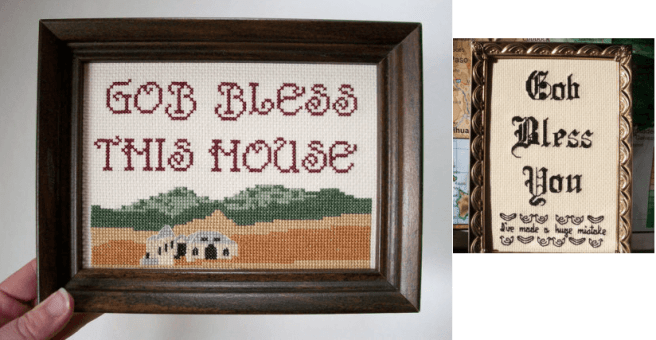 gob bless this house misspelled cross stitch by aliciawatkins (source: Etsy)