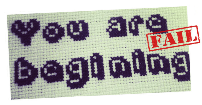 you are begining misspelled cross stitch