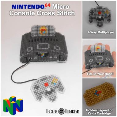 Nintendo64 Micro Console Cross Stitch by Lord Libidan